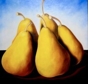 Five Pears in the Country   48x48  Oil on Canvas