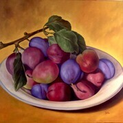 Italian Plums   48x48  Oil on Canvas, wired and ready to hang.