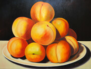 Pile of Peaches 36x48 Oil on Canvas, wired and ready to hang.