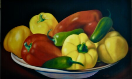 Plate of Peppers  32x48 Oil on Canvas