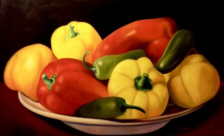 Plate of Peppers  32x48   USD2.900