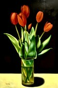 Red on Black (Tulips)  32x48  US$2.900