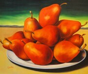 Red Pears in Sunset  48x54   Oil on Canvas, wired and ready to hang.