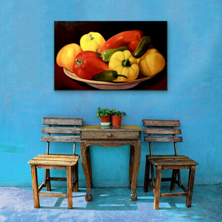 "Showcasing ""Plate of Peppers"" 32x48  USD$2.900"