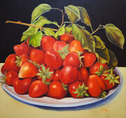 Summer Strawberries   48x48  Oil on Canvas, wired and ready to hang.