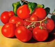 Sweet Tomatoes  42x42  Oil on Canvas, wired and ready to hang.