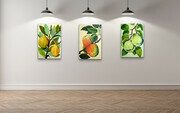Trio of Fruit paintings - Botanical style  Quince, Lemons and Apples.